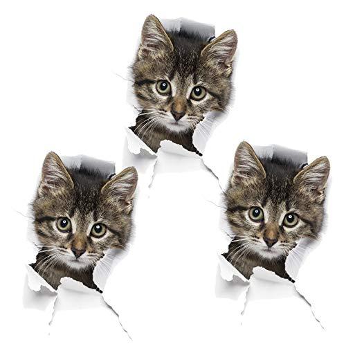 3 Stück 3D Katzen Wandtattoo Kombination, Wasserdichter Küche Wand Dekor Kühlschrankaufkleber Türaufkleber für Wand Kühlschrank Toilette und Mehr