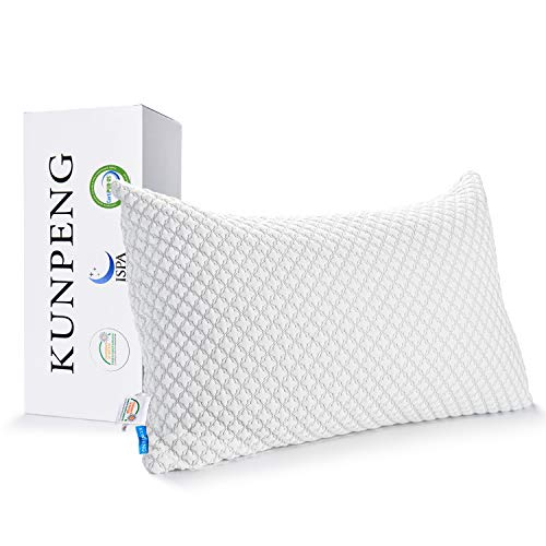 Pillows for Sleeping, KUNPENG Cooling Pillow with Hypoallergenic Bamboo Cover, Adjustable Shredded Memory Foam Bed Pillows for Side Back Sleeper - CertiPUR-US