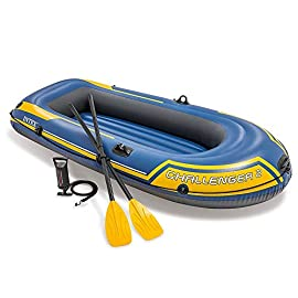 YX-ZD Inflatable Kayak, Foldable 2-Person PVC Inflatable Fishing Boat Drifting Ship Kayak with Oars,Puncture Resistant PVC Inflatable Fishing Boat Drifting Ship Kayak 9 GREAT QUALITY: This Inflatable boat adopts environmentally friendly PVC material, which has wear resistance, sun resistance. Heavy duty, suitable for two persons to use, load bearing is up to 170kg/374lbs. High-quality materials allow you to relax and play on the water. SAFE AND RELIABLE: Our inflatable boats are designed with different air chambers to ensure your safety. PVC thermal bonding seams provide first-class air retention and fine manufacturing processes to ensure no leaks. FOLDABLE & EASY TO STORAGE: Our inflatable boats fold up when you don't need them, saving you storage space. Easy to transport and carry during summer vacations, it is the best choice for your water holiday.
