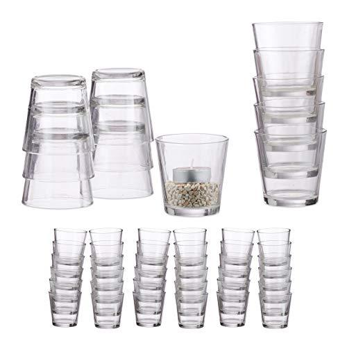 Relaxdays 48 x Teelichtglas, konisch, Tischdeko, Gläser für Dessert, Votivgläser, Gastgeschenk, Teelichtgläser 7,5 cm Ø, klar