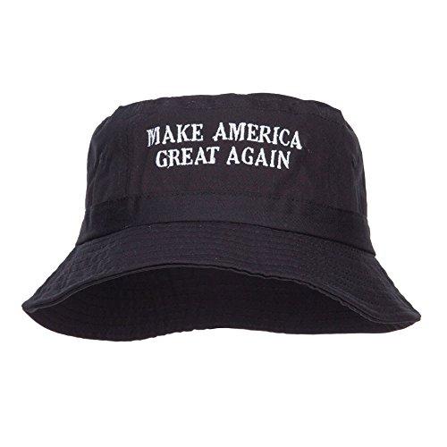 e4Hats.com Make America Great Again Bestickter Fischerhut - Schwarz - M/L