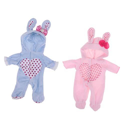 perfeclan Lindo Mono con Capucha Traje de Mameluco de Conejo para Muñeca Mellchan de 9-11 Pulgadas para Ropa de Muñecas Reborn Baby Girl