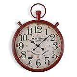 Versa Bridgetown Reloj de Pared Silencioso Decorativo para la Cocina, el Salón, el Comedor o la Habitación, Medidas (Al x L x An) 60 x 4 x 44 cm, Metal, Color Rojo y Beige