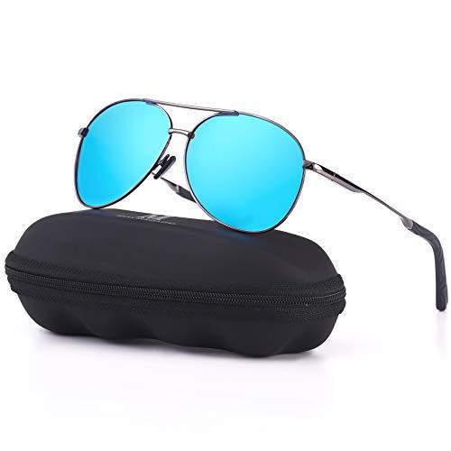 MXNXEU Sonnenbrille Herren Pilotenbrille Polarisiert Pilotenbrille Polarisierte Sonnenbrille Herren Outdoor Pilot Unisex UV400 Fahren Sonnenbrille-Blau/Asche