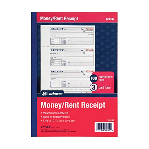 """Adams Money and Rent Receipt Book, 3-Part, Carbonless, White/Canary/Pink, 7-5/8"""" x 10-7/8"""", Bound Wraparound Cover, 100 Sets per Book, 4 Receipts per Page (TC1182)"""