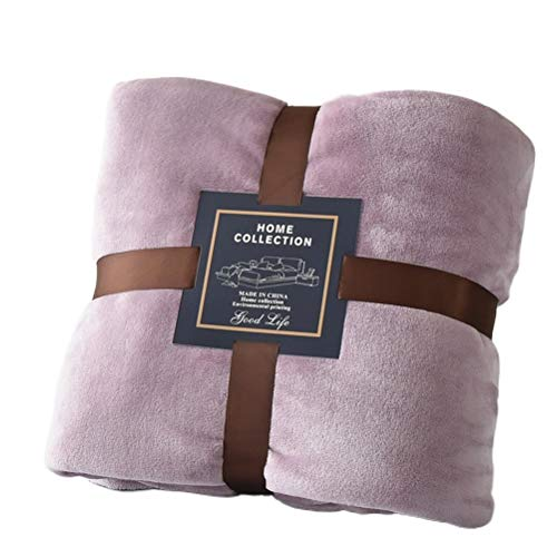 QIUBD Throw Blanket, Double/Twin Size Fleece Bed Blanket, Warm Super Soft Comfort Caring Gift for Children and Adult (Bean Paste,100 x 150 cm)