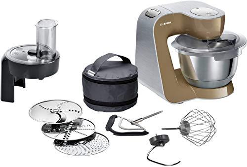 Bosch MUM5 CreationLine Premium Küchenmaschine MUM58C10, Profi-Patissierie Set, große Edelstahl-Schüssel (3,9l), Durchlaufschnitzler, 1000 W, beige/silber