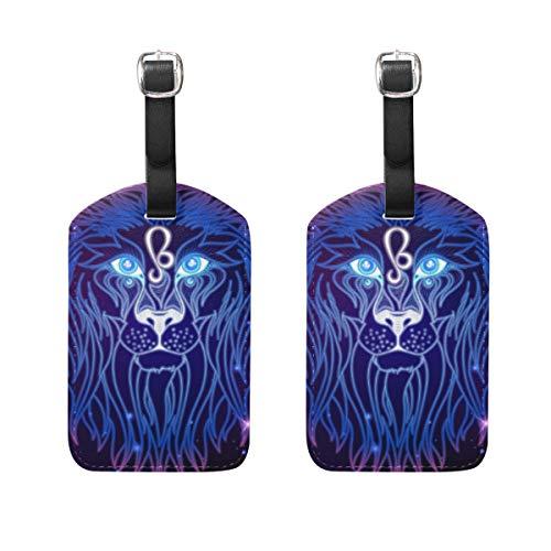 WINCAN Gepäckanhänger (Sortiert, 2 PK),Leo Zodiac Sign Horoscope Symbol VectorGepäckanhänger, Kofferanhänger für Rucksäcke