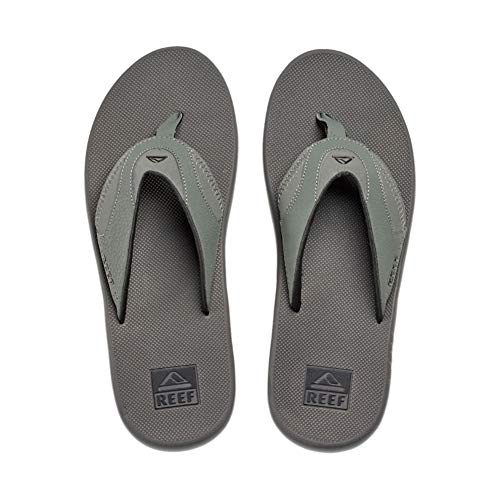 Reef Men's Sandals Fanning | Bottle Opener Flip Flops for Men with Arch Support | Grey/Black | Size 12