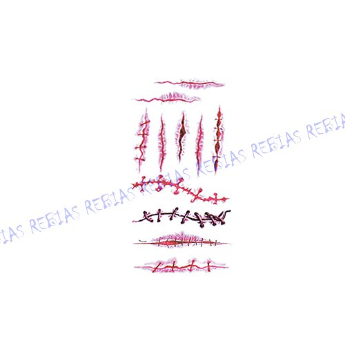 Rebias 傷 シール ハロウィン コスプレ Tatoo 転写 シール ゾンビ 仮装 パーティ Halloween タトゥー フェイク シート NS-KIZU-TATOO-10