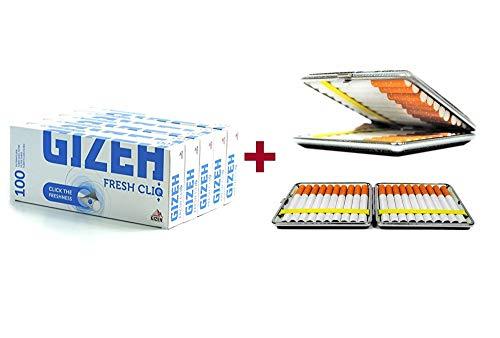 500 Gizeh Fresh cliq Hülsen Mentholkapsel Menthol-Click 5x100 + gratis Etui von SweedZ