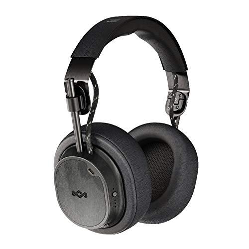 House Of Marley Exodus ANC Cuffie Over Ear Wireless con Riduzione del Rumore Regolabile, Auricolare Pieghevoli senza Fili con Bluetooth 5.0, fino a 28 Ore di Autonomia, Microfono Incorporato, Nero