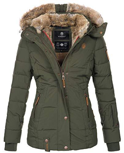 Marikoo warme Damen Winter Jacke Winterjacke Steppjacke gefüttert Kunstfell B658 [B658-Nek-Olive-Gr.S]