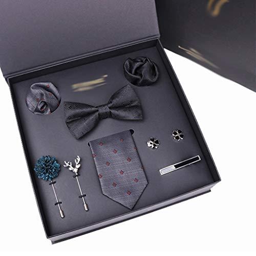 DAGONGREN Hombre Corbata pañuelo puño-Link Corbata Bowtie Broche 8pcs Conjunto de Corbatas Traje para Masculino Bolsillo Cuadrado pañuelo de Moda Caja de Regalo (Color : A)