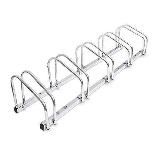Relaxdays Fahrradständer, Für 5 Fahrräder, Boden- und Wandmontage, Mehrfachständer, HBT: ca. 26 x 130 x 32 cm, silber