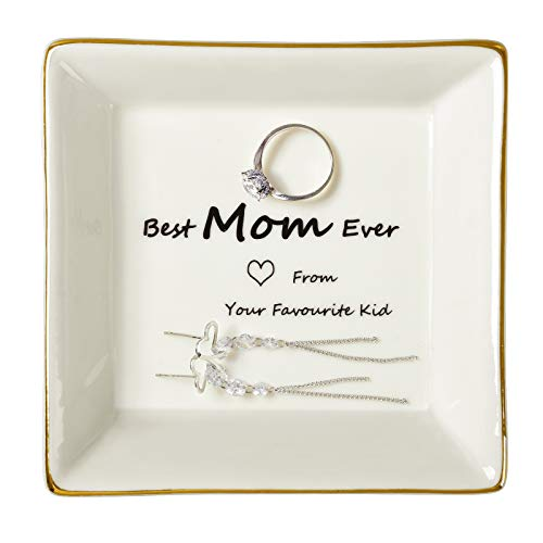 Gifts for Mom Ring Dish Trinket Jewelry Tray Table Decoration Ornaments ,Brithday Gift Best Mom Ever -Love From Your Favourite Kid,Key Storage Plate Mother's Day Christmas Gifts