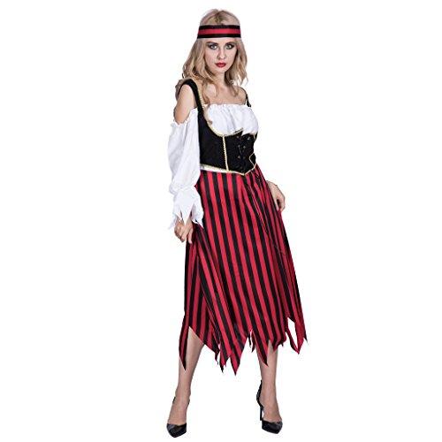 EraSpooky Damen Piraten Streifen Kleid Kostüm