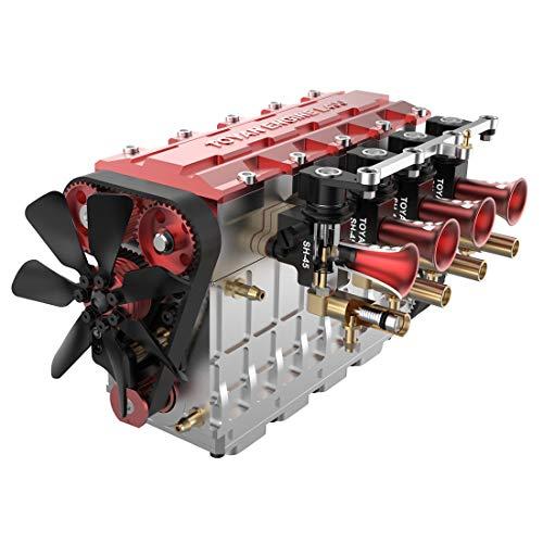 LesDiy Stirling-Motormodell, FS-L400 14ccm Reihen Vierzylinder Viertakt Wassergekühlter Motor Modellbau-Bausatz für 1:8 1:10 1:12 1:14 RC Modellauto Schiff Flugzeug