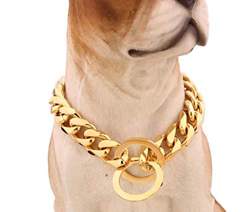 ZYLL 15Mm Klassische Halsbänder Hundehalsband Roségold-Hundekettenhalsband Aus Titanstahl,34INCH