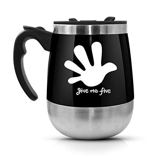 Self Stirring Mug, LEADNOVO Update Stainless Steel Auto Mixing Mug for Bulletproof/Keto Coffee/Death Wish/Hot Chocolate/Milk/Cocoa Protein Shaker Mug for Office/Kitchen/Travel/Home Life -450ml/15.2oz