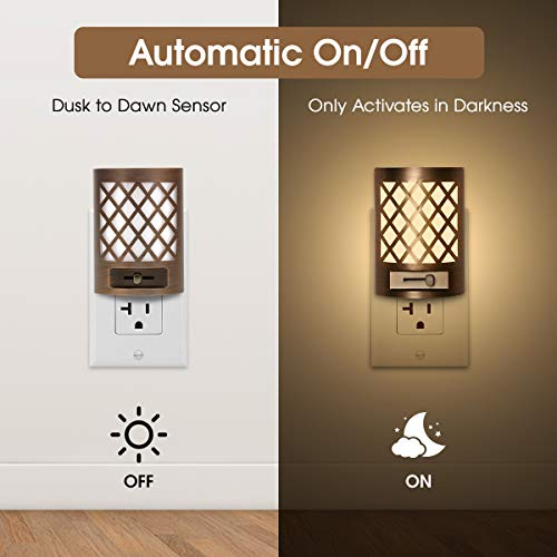 Dimmable Night Light Plug in, DORESshop 1W(15W Equivalent) Vintage LED Dusk to Dawn Sensor Night Light, Adjustable Brightness from 0LM-60LM, 110V, Soft White 3000K for Bedroom, Hallway, Nursery, 2Pack