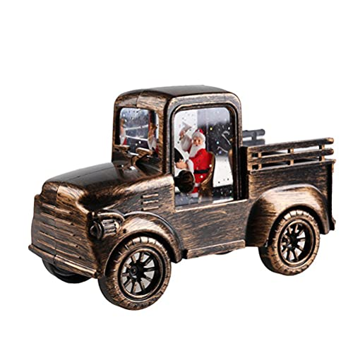 Tixiyu Juguete de camión de Navidad, modelo de coche de camión LED, camión de Navidad vintage, adornos de coches clásicos, decoración de mesa de Navidad suministros para niños