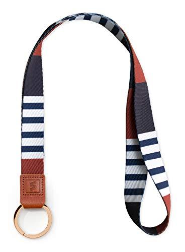 SENLLY Umhängeband Schlüsselband Neck Lanyard strip mit Ring und Echtem Leder, für ID Badge Card Holder, Ausweishülle, Schlüssel, Mobile Handys Telefon (Trib)
