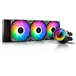 DEEP COOL Castle 360 RGB V2, AIO CPU con Raffreddamento a Liquido, Pompa e 3 Ventole RGB Indirizzabili, Controller Via Cavo Incluso, 3 Anni di Garanzia