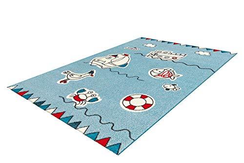One Couture Alfombra Infantil Barco Pescado Dormitorio Infantil Azul Rojo Blanco - Azul, 80cm x 150cm