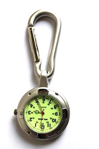 Silber Anschnallen Karabinerverschluss Taschenuhr Für Ärzte Krankenschwestern Sanitäter Köche Sport Mit Eine Extra Batterie / Akku kommt mit Geschenkbox