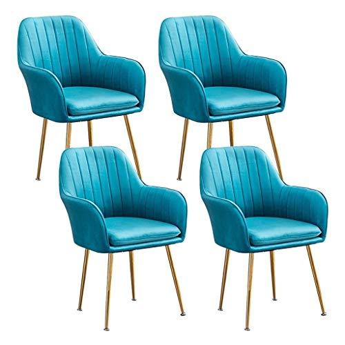 HEJINXL - Juego de 4 sillas de comedor de cocina para sala de estar, esquina, sillón de terciopelo dorado con respaldo de hierro forjado antideslizante
