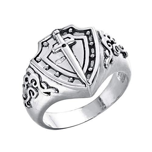 Chandler Anillo vintage para hombre, diseño de escudo vikingo, flor de lis, cruz de Maltasa, para hombre, tono plateado oxidado, plata envejecida