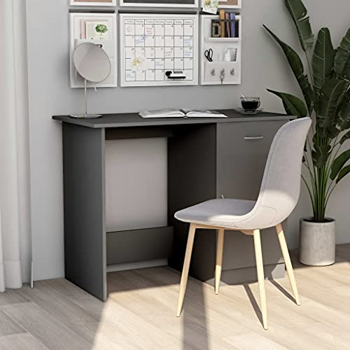 Escritorio de computadora, Escritorio de Oficina en casa Escritorio para Juegos Escritorio de Trabajo PC Escritorio de Mesa para computadora portátil Gris 100x50x76 cm Aglomerado