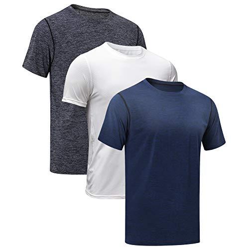MEETYOO Sportshirt Herren, Laufshirt Kurzarm T Shirts Männer Fitnessshirt Atmungsaktiv Funktionsshirt für Running Jogging Fitness Gym (Schwarz + Blau + Weiß, M)