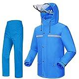 iCreek Rain Suit Jacket & Trouser Suit Raincoat Unisex Outdoor Waterproof Anti-storm (XS-USA, blue)