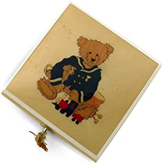 Amazing 30 Note Beige & Ivory Navy Thread Bear with Toys Music Box - Many Songs Available - Phantom of The Opera
