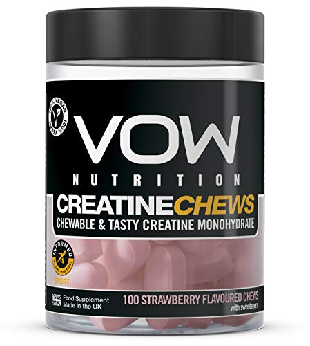 VOW Nutrition Creatine Chews,100 Strawberry Flavoured Chews, Creatine Monohydrate Informed Sports Approved