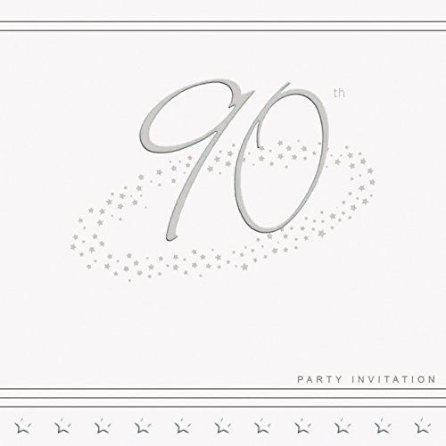 90th Birthday Party Invitation Cards 375 High Quality Silver Foiled White