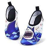 AMZTM Zapatos de Agua para Niño Chicos, Tiburón Zapatillas Acuáticas Secado Rápido Tipo Calcetines Descalzado, Escarpines Deportivos para Paseo Playa Buceo Snorkel Kayak Surf(Numeric_30)