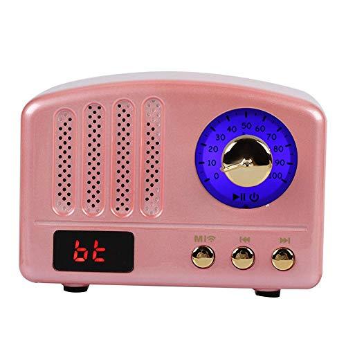 Altavoz Bluetooth retro, Altavoz Bluetooth inalámbrico retro portátil Altavoces estéreo supergraves Radio FM, compatible con aptx, señal estable, para teléfono, computadora portátil, PC, Pad (marrón)