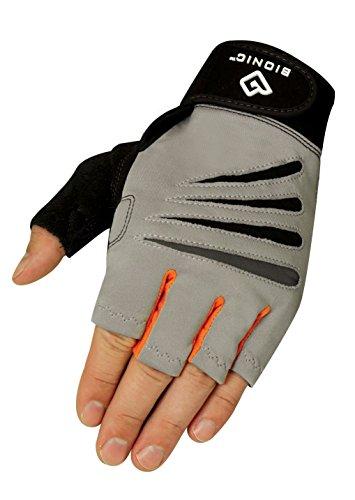 Bionic Glove Men's Cross-Training Fingerless Gloves w/ Natural Fit Technology, Gray/Orange (PAIR), Medium