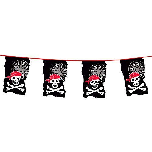 Boland 74183 – Guirlande de fanions Pirate, Longueur 4 m, Motif tête de Mort, décoration à Suspendre, Guirlande, Anniversaire, décoration de fête, Vaisselle de fête, Carnaval