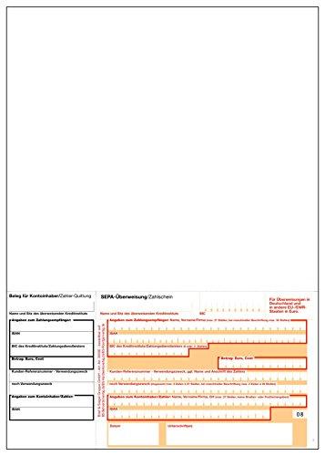 1.000 x SEPA Laser-Zahlschein (ohne DE) / Überweisungsvordruck / DIN A4 / bankneutral / beleglesefähiges OCR-Papier / mikroperforiert / 90g