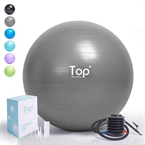 Top Balance Anti-Burst Exercise Ball (Silver, 65cm), Extra Thick Construction Supports up to 1000 lbs, Used for Fitness/Yoga/Ball Chair/Birthing with Easy to Inflate Foot Pump (Office & Home & Gym)