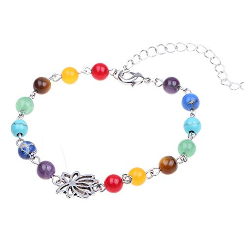 ZSDN Bohemian Beach Hollow Lotus Rainbow Beads Anklet Beaded Woven Ankle Bracelets Foot Jewelry for Women and Girls