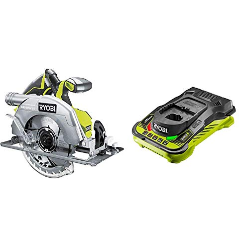Ryobi R18CS7-0 ONE+ 18V Cordless Brushless Circular Saw (Body Only) & RC18150 18V ONE+ Cordless 5.0A Battery Charger