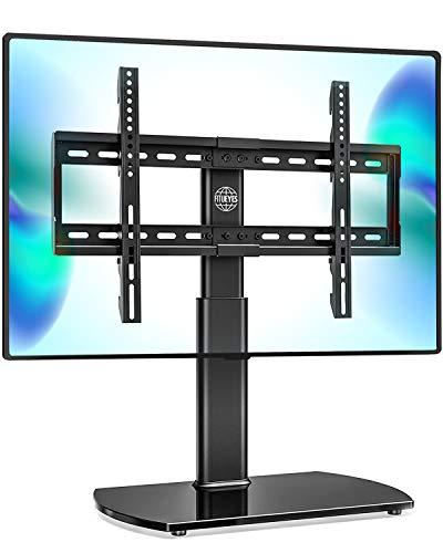 Fitueyes Universal TV Stand /Base Swivel Tabletop TV Stand with Mount for 32 to 65 inch Flat screen TV 80 Degree Swivel 3 Level Height AdjustableTempered Glass Base Holds up to 88lbs Screenss