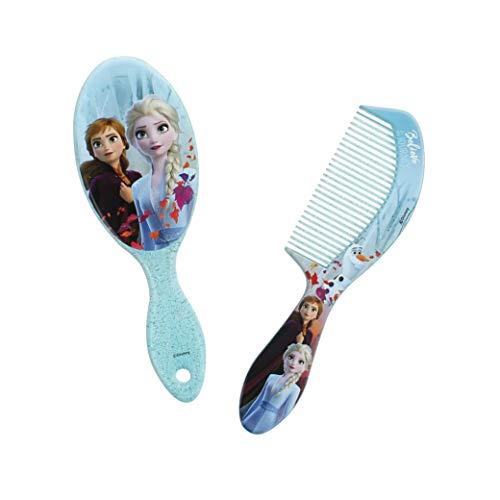 Disney Frozen - Juego de 2 cepillos para el pelo, peine Elsa/Anna