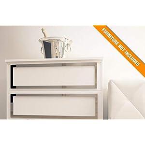 Faro Möbelüberlagerung | Geeignet für IKEA Malm | Farbe: Weißes PVC/Repaintable, goldener Spiegel, silberner Spiegel…