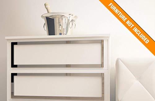 Faro Möbelüberlagerung | Geeignet für IKEA Malm | Farbe: Weißes PVC/Repaintable, goldener Spiegel, silberner Spiegel oder gebürstetes Silber